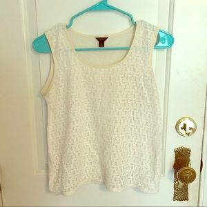 Cream embroidered tank